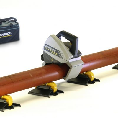 Exact PipeCut 170 machine on a cast iron pipe ready to cut it