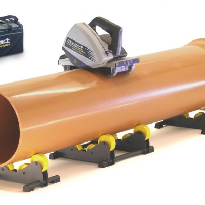 Exact PipeCut P400 pipe saw on a plastic pipe