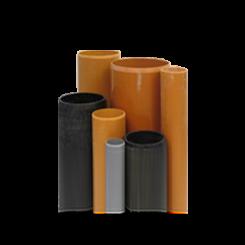 Plastic pipes of PVC, PE, PP